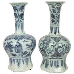 Two Related Blue and White Delft Vases 17th Century