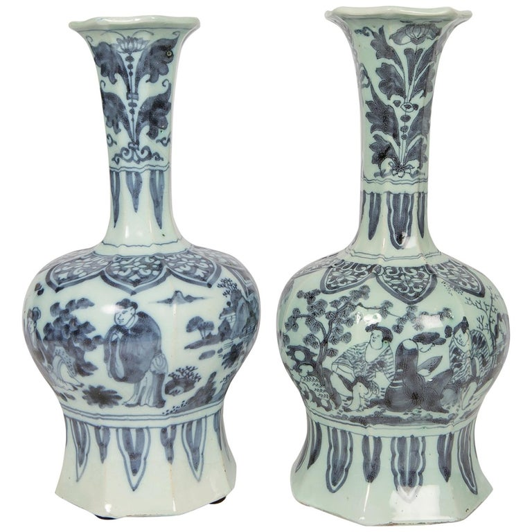 Two Related Blue and White Delft Vases 17th Century For Sale