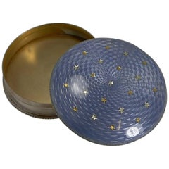 English Sterling Silver and Guilloche Enamel Box, Gold Stars