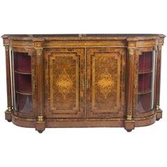 19th Century Victorian Burr Walnut Inlaid Credenza Side Cabinet