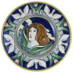 Symbolist Ceramic Dish by Galileo Chini