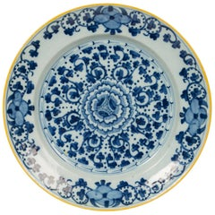 Blue and White Delft Charger with Yellow Edge Made circa 1770