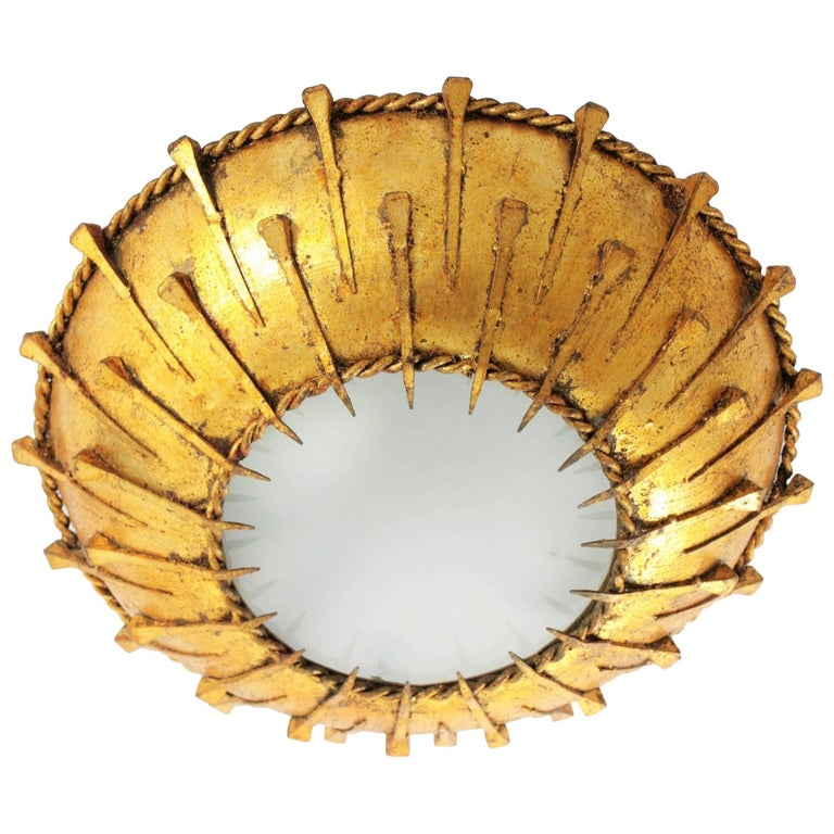 Brutalist Gold Leaf Gilt Iron Sunburst Wall Ceiling Light Fixture, France, 1950s