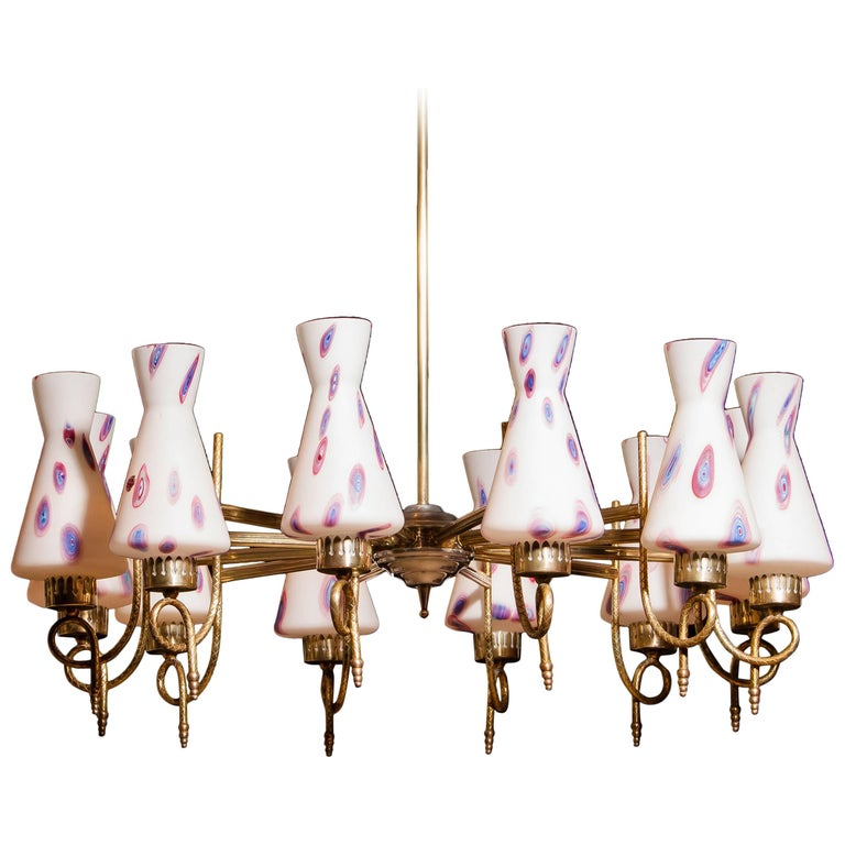 1940s, Large Brass and Multicolored Murano Venini Glass Chandelier