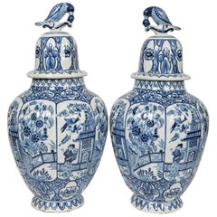 Pair of Blue and White Delft Jars
