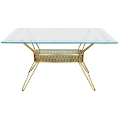 Italian Midcentury Brass and Glass Coffee Table, 1950s