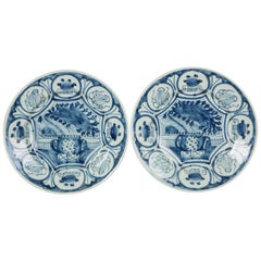 Blue and White Delft Dishes Antique Pair Made circa 1770
