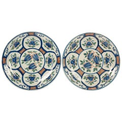Pair of Dutch Delft Pancake Plates