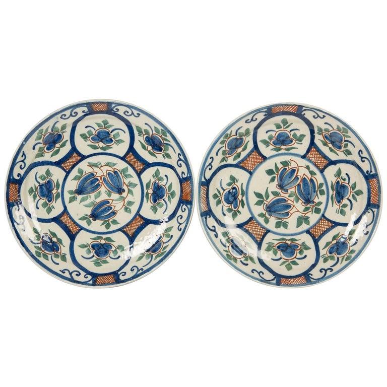 Pair of Dutch Delft Pancake Plates