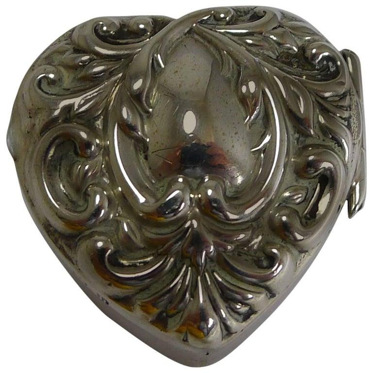 Petite Antique English Heart Shaped Pill Box, 1901