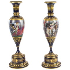 Antique Pair of Vienna Porcelain Pedestal Vases on Stands, 19th Century