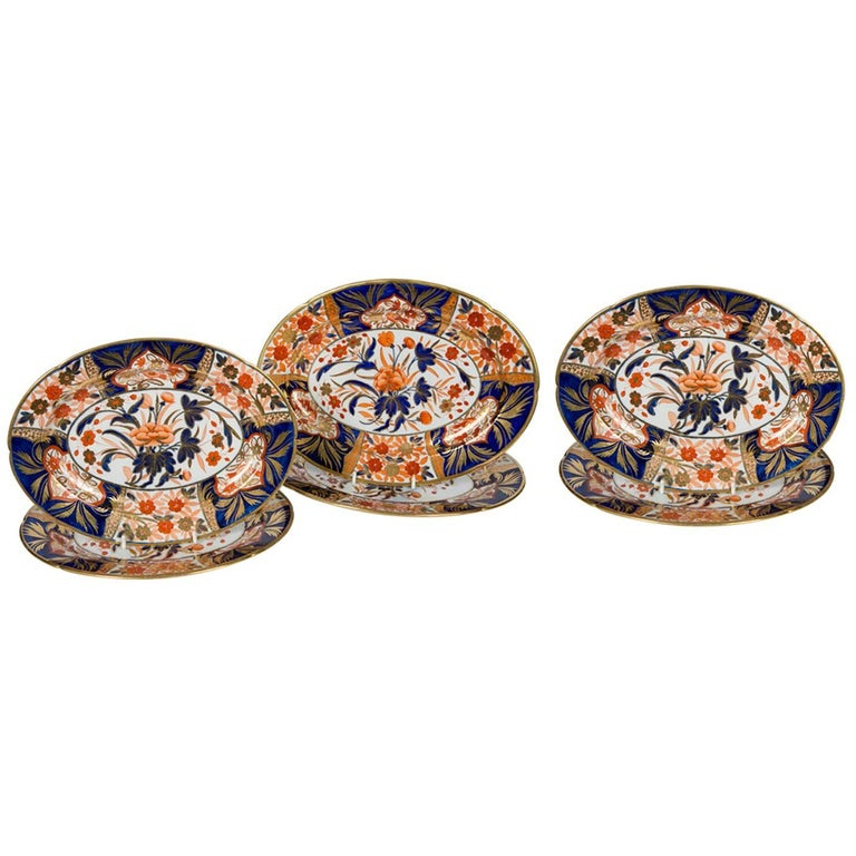 Six Coalport Imari Platters