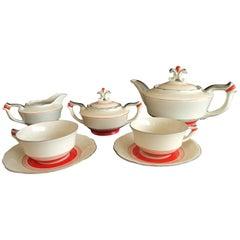 Art Deco Tête-à-tête Tea Set Karlsbad Red Silver on Ivory