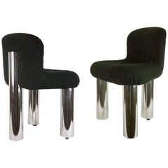 Two Chrome Plated Metal and Black Fabric Soft Chairs Botolo by Boeri for Arflex