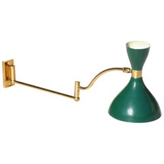 1950s by Stilnovo Italian Design Brass Green Applique Wall Lamp