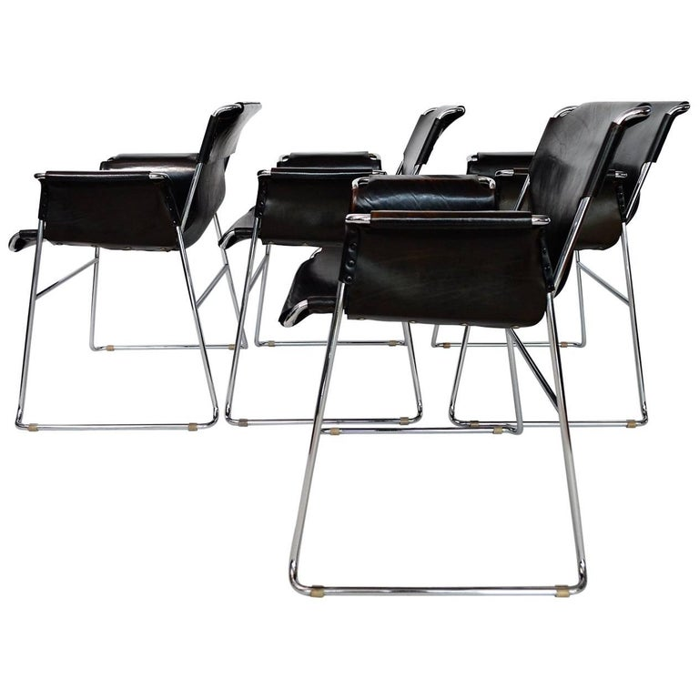 Italian Postmodern Chrome and Leather Chairs, Set of Four