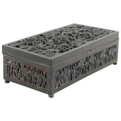 Metal Patinated Art Nouveau Box with Floral Design
