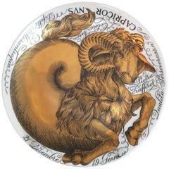 Piero Fornasetti Porcelain Zodiac Plate, Astrali Pattern, Capricorn, Dated 1964