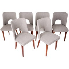 "Set of Six Grey-Beige ""Shell"" Chairs, 1960s"
