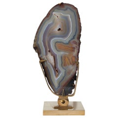 Brass Willy Daro Table Lamp with Large Agate