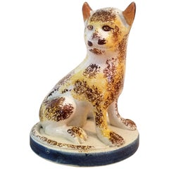 Early Staffordshire Pottery Pearlware Cat, Late 18th Century