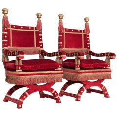 Red Velvet Italian Throne Chairs