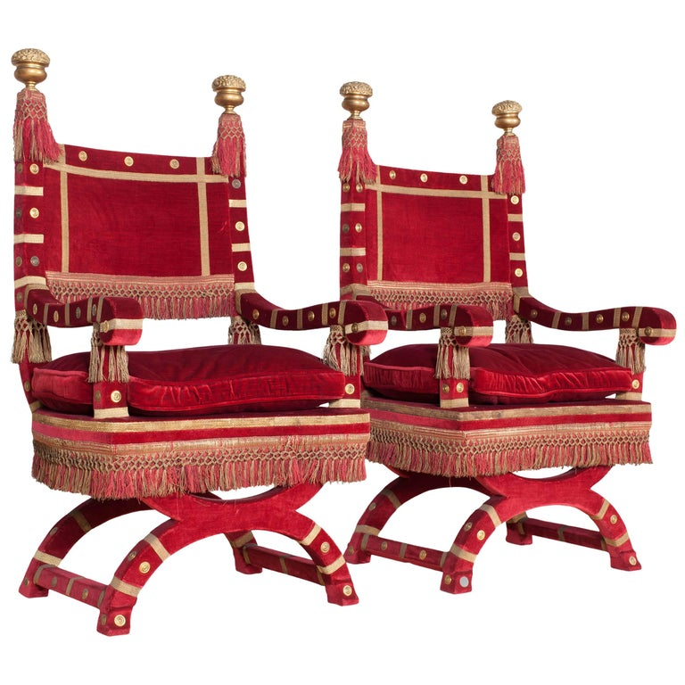 Eclectic Red Velvet Italian Throne Chairs For Sale