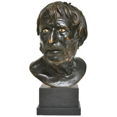 19th Century Italian Bronze Bust Study of Seneca