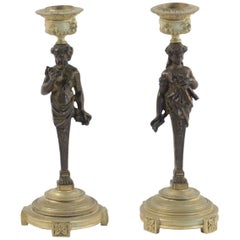 Pair of Period Napoleon III Bronze Candlesticks