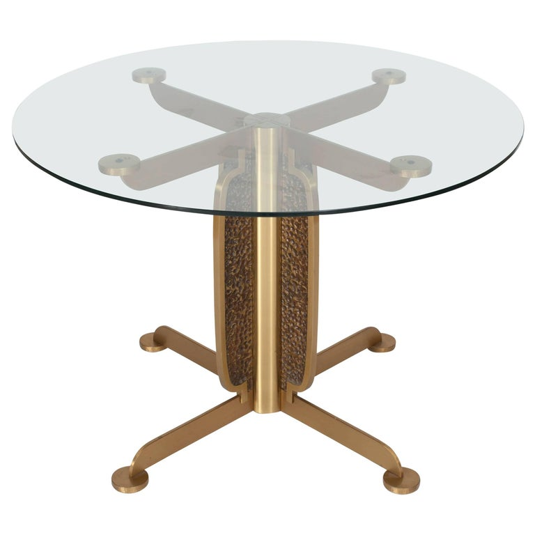Brass Cast Dining Table with Glass Top by Luciano Frigerio