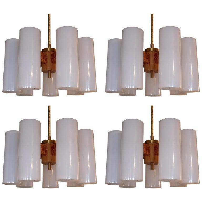 Set of 8 Chandeliers by Uno & Östen Kristiansson for Luxus, 1960s