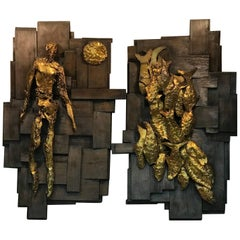 Large Pair of Signed Brutalist Resin Wall Sculptures
