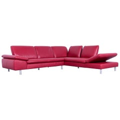 Willi Schillig Loop Designer Corner Sofa Leather Red Function Couch