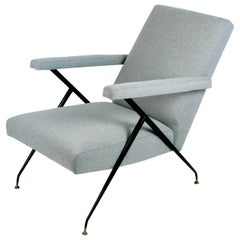 Light Grey Italian Midcentury Reclinable Lounge Chair in the Style of Ico Parisi