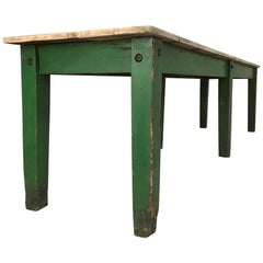 Late 19th Century English Pine Green Dining Work Table with Elm Top