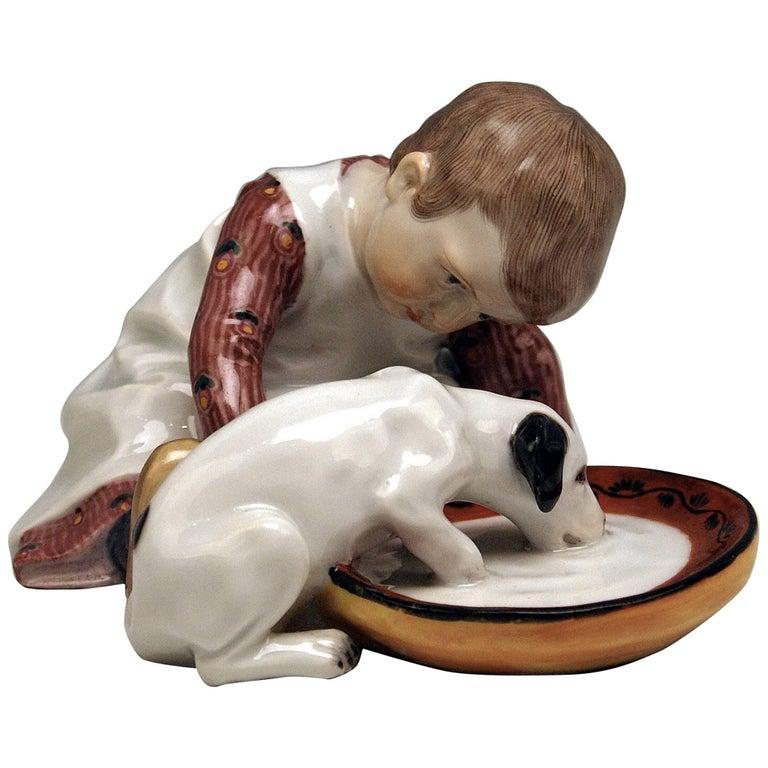Meissen Hentschel Child Boy Figurine with Drinking Dog Model W 123, circa 1905