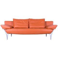 rolf benz modern furniture. Rolf Benz Sob 1600 Designer Sofa Leather Orange Three-Seat Function Couch Modern Furniture