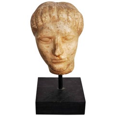 Antique Marble Head Sculpture