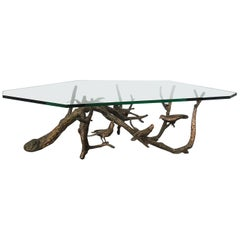 Bronze and Faceted Glass Top Coffee Table with Birds