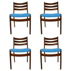 Set of Four Midcentury Scandinavian Teak Dining Chairs Blue Fabric 1960's