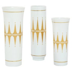 Hutschenreuther Vases Gold White Porcelain Signed