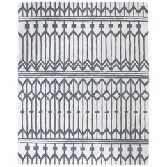 Angela Adams Owl Feather, Grey & White Rug, Geometric, Wool, Handcrafted, Modern