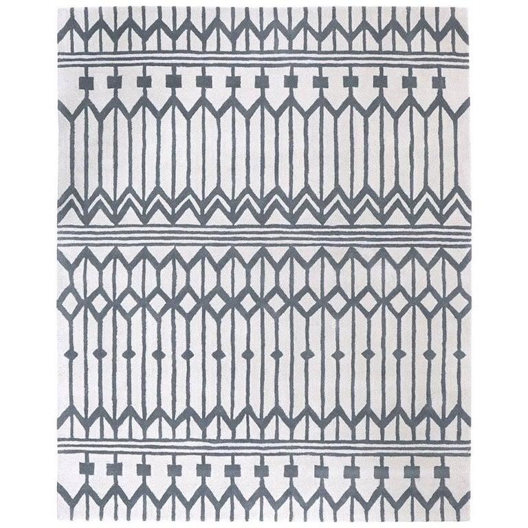 Angela Adams Owl Feather Grey And White Rug Geometric Wool