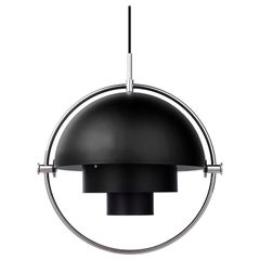 Louis Weisdorf 'Multi-Lite' Pendant Lamp in Black / Chrome
