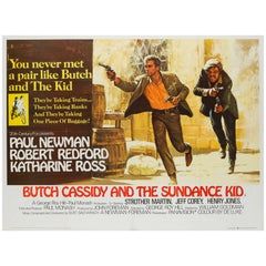 Butch Cassidy and the Sundance Kid UK Film Poster, Art by Tom Beauvais, 1969