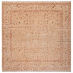 Square Silk and Wool Vintage Tabriz Persian Rug