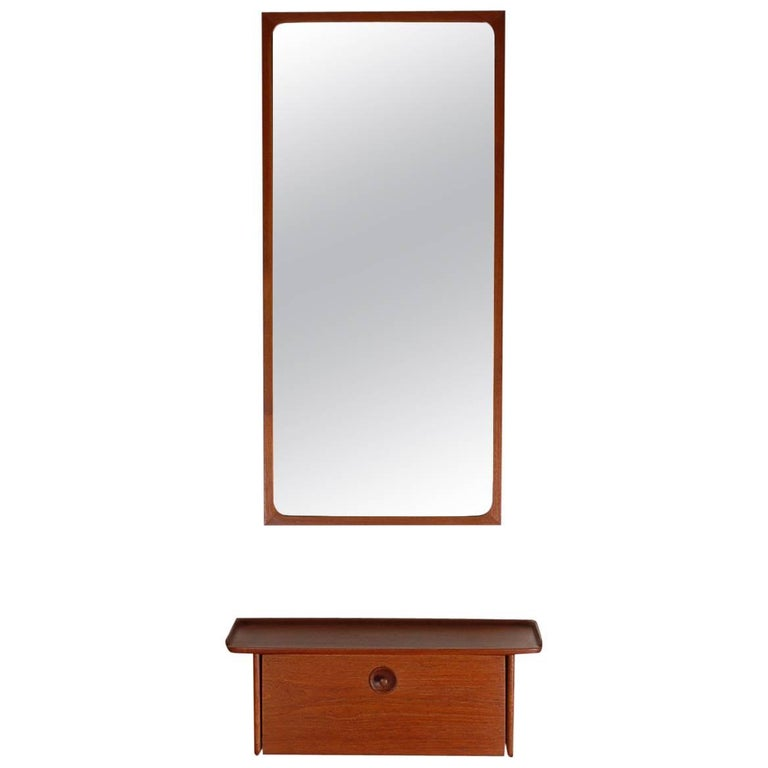 Midcentury Danish Modern Hanging Console Shelf / Mirror by Ludvig Pontoppidan For Sale