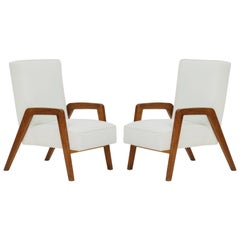 Midcentury Oak Velvet White Jeanneret Style Pair of Lounge Chairs France 1950s