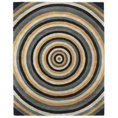 Angela Adams Infinity, Grey Rug, Geometric Circles, Wool, Handcrafted, Modern