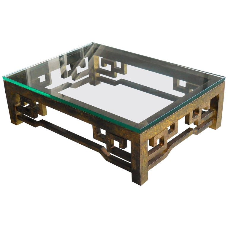Patinated Brass Low Coffee Table with Greek Key Design, Laverne Style